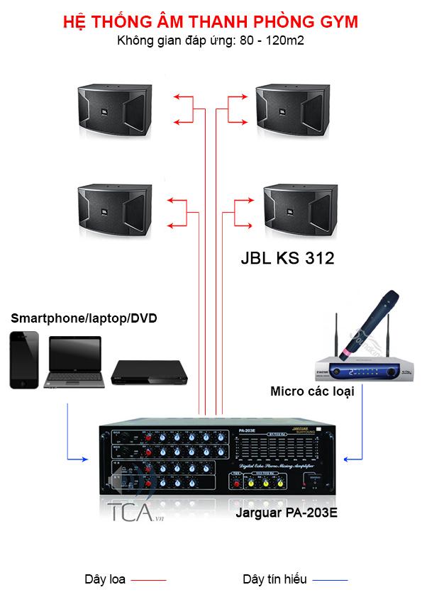 Minh họa hệ thống âm thanh phòng GYM
